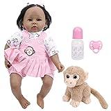 Reborn Baby Dolls, 20 pulgadas, realista, realista, de cuerpo completo, vinilo suave, silicona, muñeca Reborn flexible con vestido rosa con pelo ondulado y rizado, el mejor juego de cumpleaños
