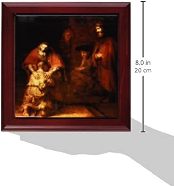 3dRose ft_203890_1 Print of Rembrandt Painting The Prodigal Son Framed Tile, 8 by 8""