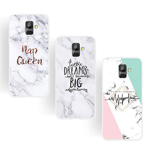 ChoosEU kompatibel mit 3X Hüllen Samsung Galaxy A6 2018 Hülle Silikon Muster Marmor Weiß Handyhülle für Mädchen Frau Mann, Dünn Silikonhülle Durchsichtig Stoßfest Case - Königin Träume Heartbeat