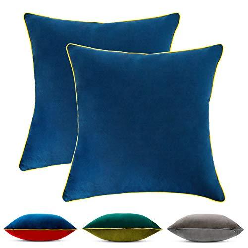 Hanrunsi Fundas de Cojines de Terciopelo Juego de 2 Fundas de Almohada de Tiro Cuadrado 45cm x 45cm Cojines Decorativos de Terciopelo para Sofá Dormitorio con Cremallera Invisible Rojo Y Azul