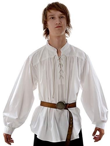 Hemad Camisa Medieval Pirata para Hombre - Cuello Alto, algodón Ligero – M Blanco