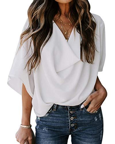 Minetom Blusa Donna con Collo V Maglietta Maniche Lunghe Casual Tinta Unita Chiffon Sexy Ufficio Camicetta Elegante Top T Shirt Bianco 46