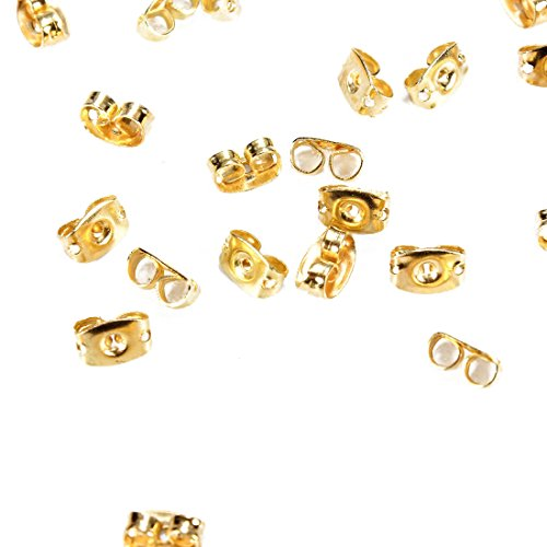 Uniquk 50PCS de Casquillo de Pendientes de Tono de Oro Puntas de Cierre de Oro de Mariposa Casquilo de joyeria