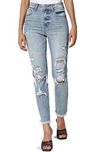 TheMogan Women's Tobi Super High Rise Distressed Tapered Cropped Mom Jeans Medium 9 Mississippi