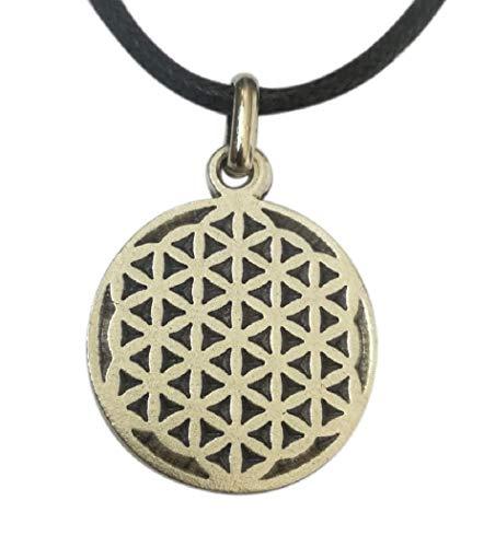 Flor de la Vida, Colgante Geometría Sagrada chapeada plata con collar