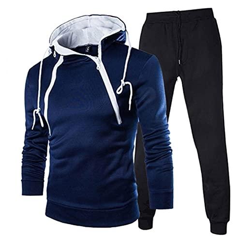 Men's Tracksuit 2 Piece Hooded Athletic Sweatsuits Fastigiate Zipper Sweatsuits Running Jogging Sport Suit Sets Activewear