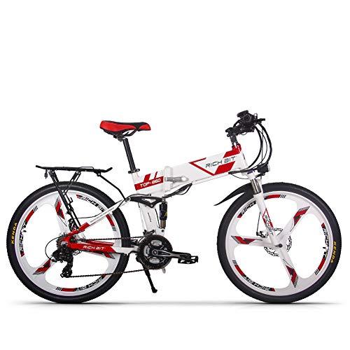 RICH BIT TOP-860 Bicicletta pieghevole elettrica 26 pollici 36 V 250 W 12,8 Ah Bicicletta da città a sospensione completa Bicicletta da montagna pieghevole elettrica (bianco rosso)