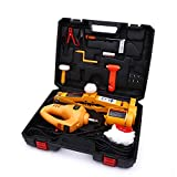 Trihelper Electric Car Jack Kit - 12V Car Jack Set for 3 Ton Vehicle Electric Scissor Car Lift for Tire Change and Road Emergencies with Impact Wrench (Yellow)