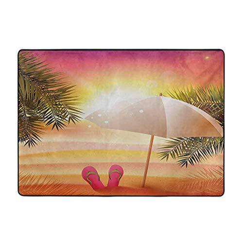 Alfombras de área suave naranja para dormitorio, puesta de sol en la playa con chanclas, paraguas y palmeras, decoración del hogar alfombras de piso de 6 pies x 9 pies
