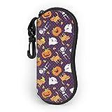 Estuche blando para gafas de sol Pumpkin Elf and Cat con clip para cinturón, funda protectora de neopreno suave y ligera con cremallera, 17cm × 8cm