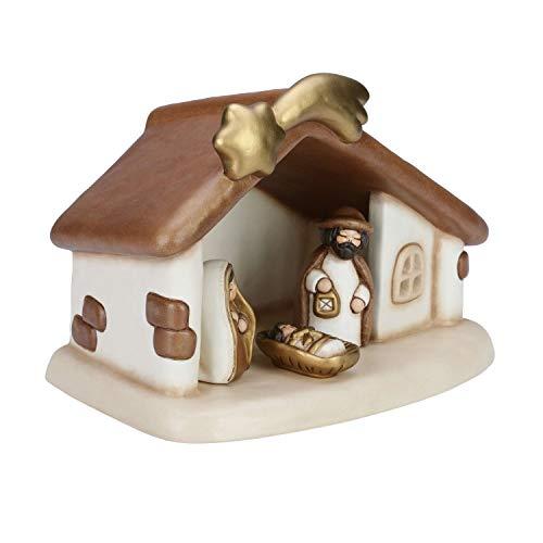 THUN® - Presepe Completo Set Capanna: Sacra Famiglia, Bue e Asinello - Versione Bianca - Statuine Presepe Classico - Ceramica - I Classici