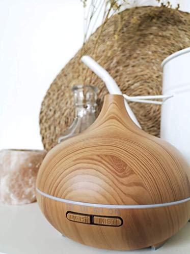 XXL Aroma Diffuser 300ml: Sehr Leiser Ultraschall Luftbefeuchter für ätherische Öle - Aromatherapie Duftlampe in Holz Optik mit LED Licht, Lufterfrischer für Wohnung – Duft Diffusor HAPPYHAVES