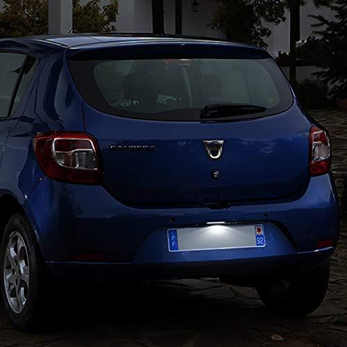 WXQYR 2 Piezas/Juego de Luces LED Blancas traseras de Alto Brillo para matrícula para Dacia Logan I 2004-2012 Sandero I 2008-2012 Renault Clio II Lift 2001-2005