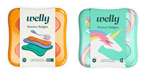 Welly Bandages - Bravery Badges, Flexible Fabric, Adhesive, Assorted Shapes, Solid and Unicorn Patterns - 48 ct, 2 Pack
