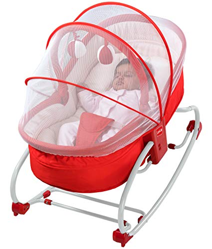 LuvLap 3 in 1 Rocker Napper - with Musical Vibrations - Red