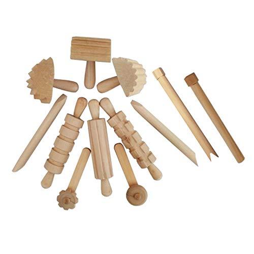 Hellery Herramientas de Pasta de Arcilla de Arte de Madera Moldes de Galletas de Juguete DIY Edades de 3 en Adelante 12