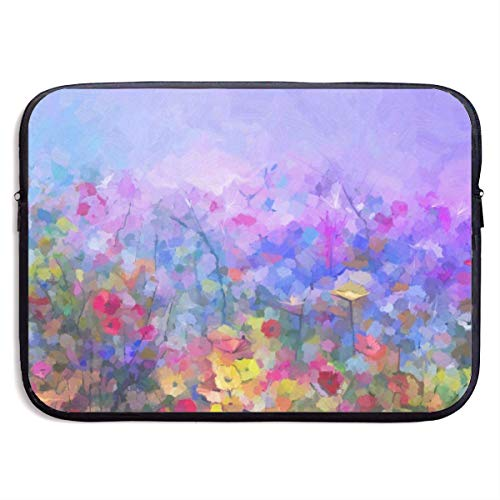 Funny Design Colorful Oil Painting Wildflowers Laptop Sleeve Waterproof Neoprene Diving Fabric Protective Briefcase Laptop Bag for IPad, Notebook/Ultrabook/Acer/Asus/Dell
