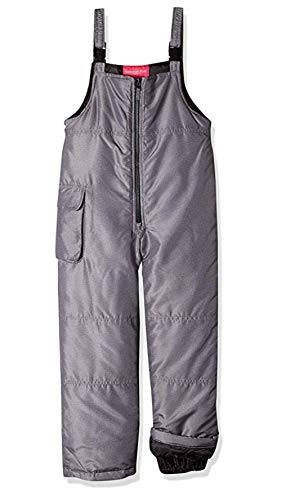 London for Girls' London for Girls' Bib Pant with Zipper, Grey Crosshatch, 7/8
