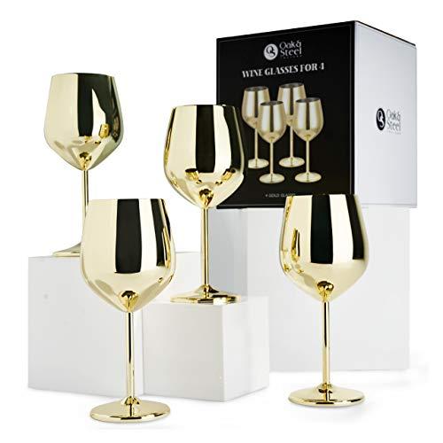 Oak & Steel - 4 Copas Doradas de Vino/Elegantes de Acero Inoxidable - 540ml / Copas de Vino Tinto/Mantiene la Bebida Fresca y Refrescante