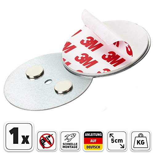 Rauchmelder Magnethalter 3M mit 50mm Ø Selbstklebend für klein und Mini Rauchmelder - Klebepads mit Magnethalterung zur einfachen Befestigung ohne Bohren und Schrauben