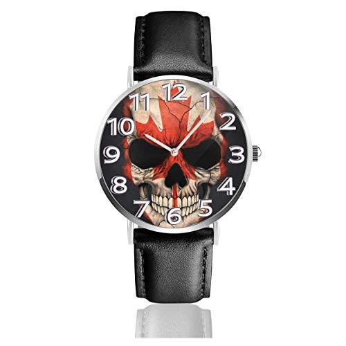 Reloj de Pulsera Bandera Canadiense Cráneo Patrón Negro Durable PU Correa de Cuero Relojes de Negocios de Cuarzo Reloj de Pulsera Informal Unisex