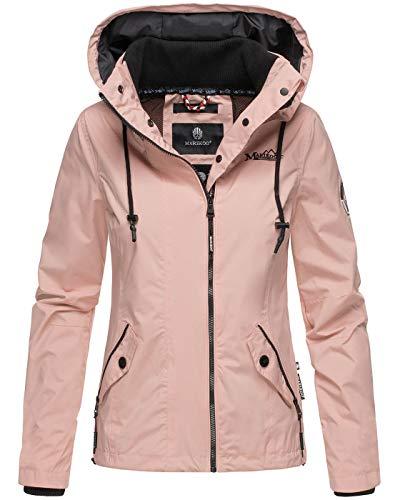 Marikoo Damen Jacke Frühling Übergangsjacke Frühlingsjacke leicht Kapuze B694 [B694-Mali-Rosa-Gr.S]