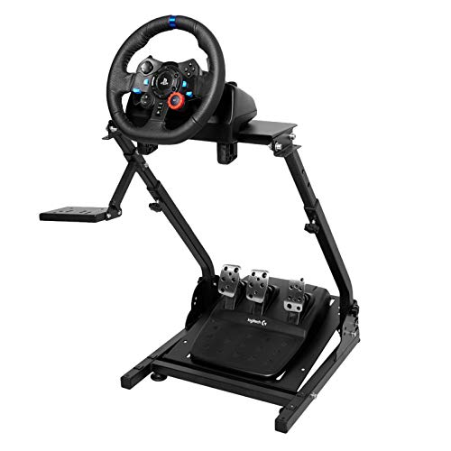 MINNEER ホイールスタンド Racing Wheel Stand 炭素鋼フレーム 折りたたみ設計 ホイール・ペダル位置調整可能 Logitech G25 G27 G29 G920 Thrustmaster T150/T-GT/T300RS/T500RS対応
