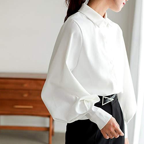 Manga Larga Camisa Nuevas Mujeres Vintage Blusa Sólida Manga Linterna Camisa De Cuello Vuelto Botón Suelta Oficina Señora Top XL Blanco Entrega Rápida Gratuita