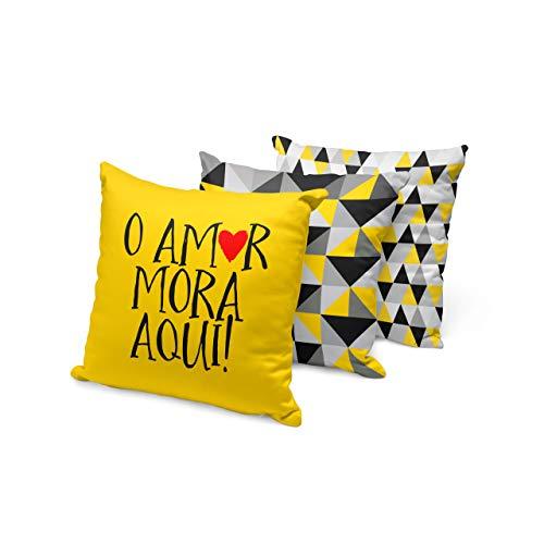 kit 3 capas de almofadas amor mora aqui preto e amarelo 40x40