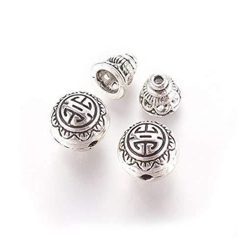 YCSC 10SETS Aleación de Plata tibetana Aleación de 3 Orificios Guru Bead T-taladrados T-taladrados Buda Carrera de Cuentas Cap para Mala DIY Pulsera Joyas/Buddha Beads (Color : Negro)