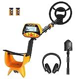 FLOUREON - Detector de Metales Profesional, Pantalla LCD, Detector de Metales, Ajustable, Impermeable, Plegable, Pala para Regalo