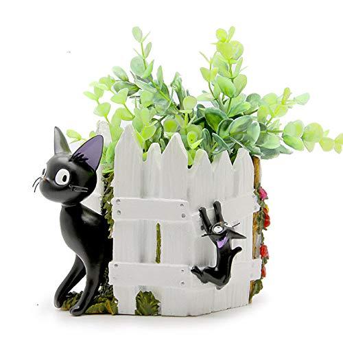 LJXLXY creatieve vlezige bloempot ornamenten zwarte kat hek hars vlezige Micro landschap gepotte ornamenten bloem vazen verjaardag geschenken