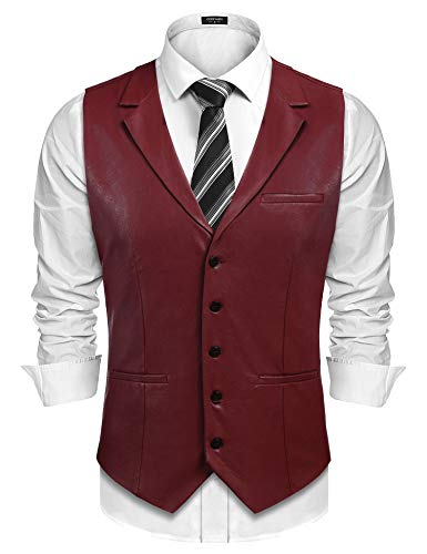 COOFANDY Mens Leather Vest Casual Western Vest Jacket Lightweight V-Neck Suit Vest Waistcoat Wine Red