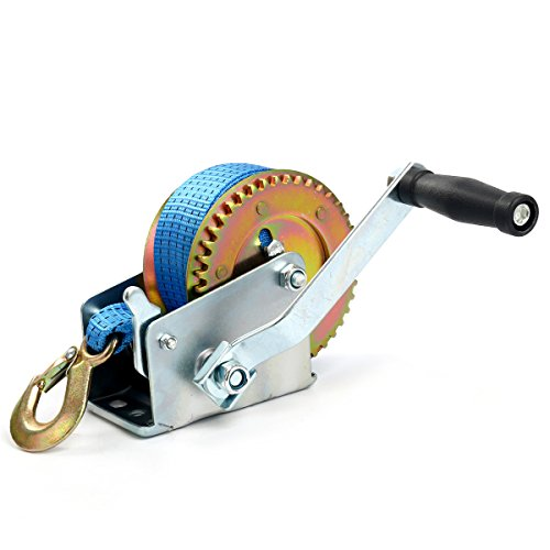 FreeTec Cabrestante manual con polipasto azul, de poliéster, 8 m