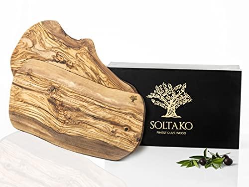 SOLTAKO Set di 2 taglieri in legno d\'ulivo, da portata, da bistecca, da colazione, da formaggio, in legno d\'ulivo, taglio naturale 40-43 cm di lunghezza, 20-22 cm di larghezza, ca. 2 cm di spessore