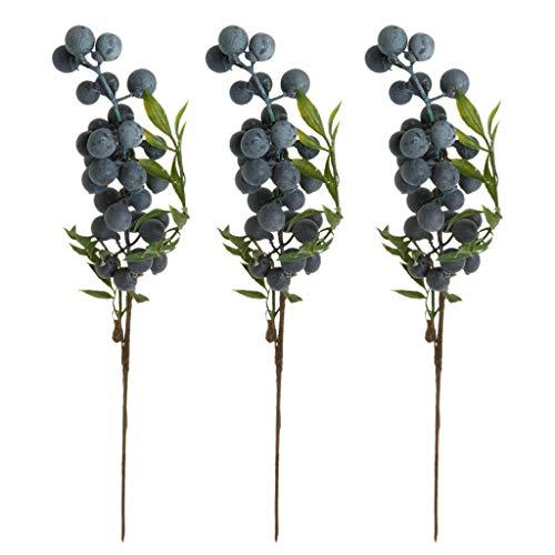Künstliche Blaubeeren Heidelbeeren Früchte Obst Zuhause Garten Party Festival Dekoration - 3 Stück