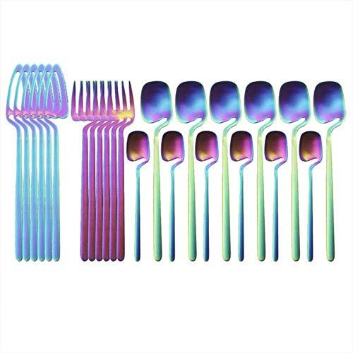 JUIO Juego de vajilla de acero inoxidable 304, 24 piezas, color negro mate, juego de vajilla de cocina (color: arcoíris)