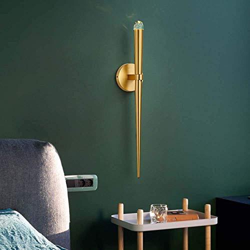 DJY-JY Lámpara de pared nórdica moderna minimalista dormitorio cabecera minimalista sala de estar comedor pasillo luz todo cobre creativo telón de fondo lámpara de pared de 8,5 x 10 x 55 cm delicada