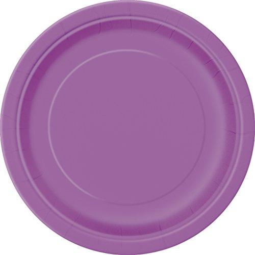 Unique Party 34476 7' Round Dessert Plates | Pretty Purple Color Theme | 20ct, Pack of 20