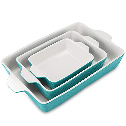 EZYCOK Ceramic Bakeware Set, Rectangular Baking Dish Lasagna Pans for Cooking, Kitchen, Cake Dinner, Banquet and Daily Use (Turquoise)