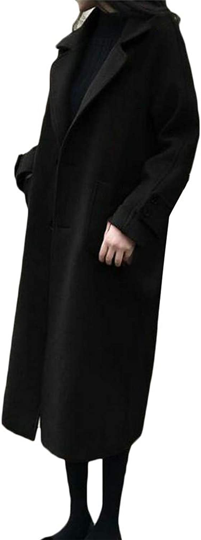 Blyent Women Two Button Vintage Lapel Neck Pocket Overcoat Wool Blend Coat Jacket
