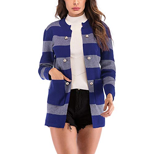 OSYARD Sweater Coat Elegant Offene Cardigan Herbst Winter Strickmantel Lange Damen, Frauen Beiläufige Gestreift Strickjacke Knopf Lange Hülsen Jacken Taschen Mantel Fleecejacken Outwear