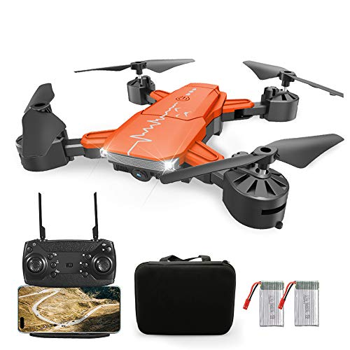 Foldable Drone with Camera,RC WiFi Quadcopter with Gesture Control, Headless Mode,Altitude Hold,360 °Flip, Easy to Control for Beginners(Inc.2 Batteries & Carrying Bag).