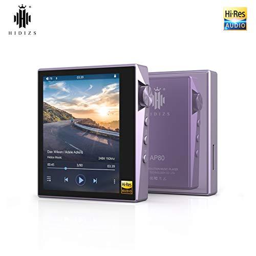 HIDIZS AP80 Reproductor de MP3 Bluetooth, Reproductor de Audio Digital Portátil de Alta Resolución con LDAC / aptX / DSD, Reproductor de Música Sin Pérdida con Pantalla Táctil Completa (Púrpura)