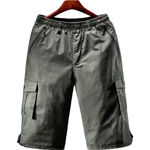 Pantalones Cortos Sueltos de Gran tamaño para Hombre, Pantalones Cortos de Entrenamiento de Entrenamiento al Aire Libre con Cintura elástica y cómoda con Bolsillos con Cremallera 3XL
