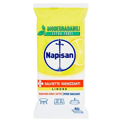 Napisan Salviette Igienizzanti Biodegradabili Limone, 40 Pezzi