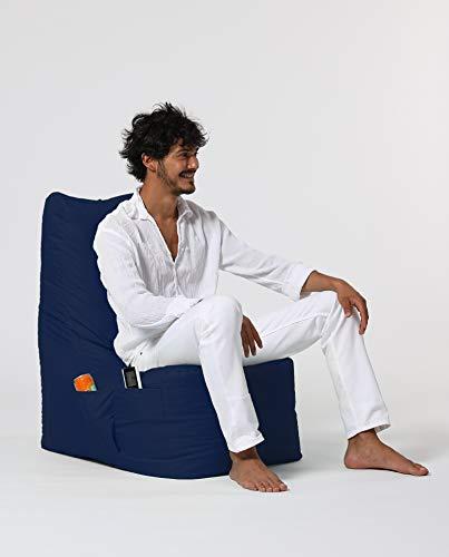 Sugarpufy Sitzsack mit Lehne - Bequemer Bean Bag mit Rückenlehne als Sitzkissen & Sessel mit Füllung - Reißverschluss zum Befüllen - Wasserfester Bezug - Sitzsack Indoor & Outdoor - Donker Blau