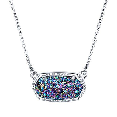 WISHMISS Womens Rainbow Light Druzy Necklace, Natural Mutlicolor Drusy Pendant for Women,...