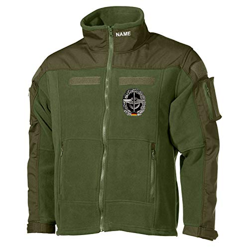 Copytec Combat Fleecejacke Nachschub Namen Klett Inst LogBtl Bundeswehr #30489, Größe:XL, Farbe:Oliv