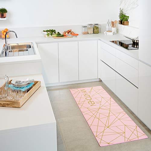 Carpet Studio Küchenläufer rutschfest, Teppich Küche, 65x180cm, Teppich Läufer Flur, 30°C Waschbar, Pflegeleicht, Strapazierfähig, Rosa - Pink Kitchen Network